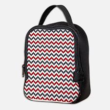 Red Gray Chevron Neoprene Lunch Bag