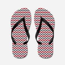 Red Gray Chevron Flip Flops