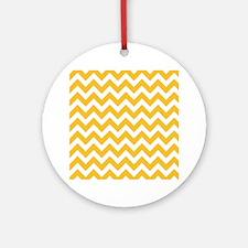 Yellow Chevron Ornament (Round)