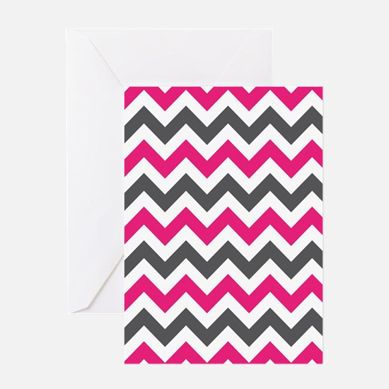Pink Gray Chevron Greeting Card