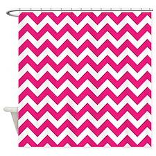 Hot Pink Chevron Shower Curtain