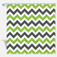 Lime Gray Chevron Shower Curtain