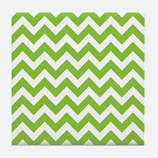 Lime Green Chevron Tile Coaster