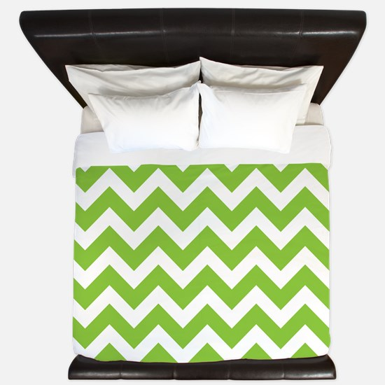 Lime Green Chevron King Duvet