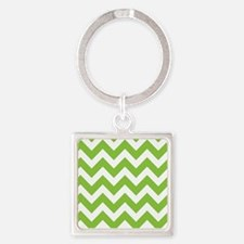 Lime Green Chevron Square Keychain