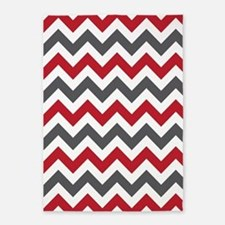 Red Gray Chevron 5'x7'Area Rug