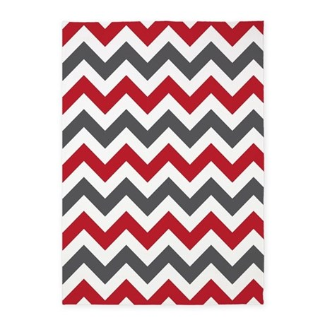 Red Gray Chevron 5u0027x7u0027Area Rug