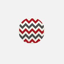 Red Gray Chevron Mini Button