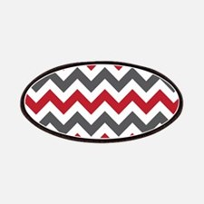 Red Gray Chevron Patches