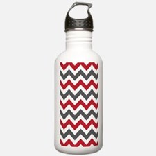 Red Gray Chevron Water Bottle