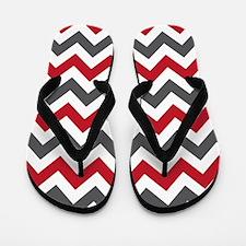Red Gray Chevron Flip Flops