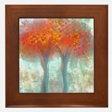 Dazzling Trees in Reds and Orange Framed Tile