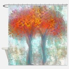 Dazzling Trees in Reds and Orange Shower Curtain