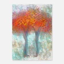 Dazzling Trees in Reds and Orange 5'x7'Area Rug