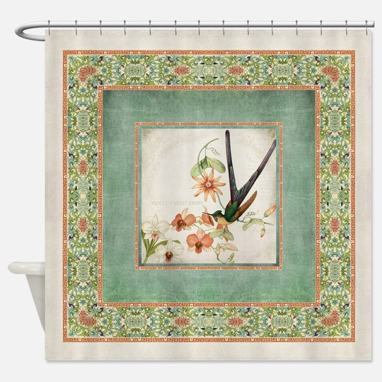 Chinoiserie Hummingbird Botanical E Shower Curtain