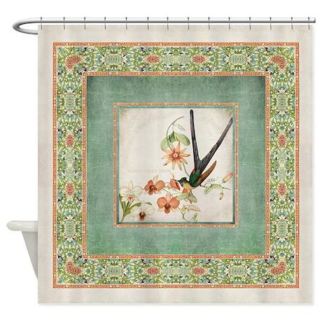 chinoiserie hummingbird botanical e shower curtain
