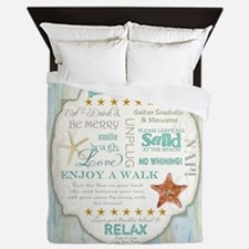 Beach House Rules Ocean Driftwood Boar Queen Duvet
