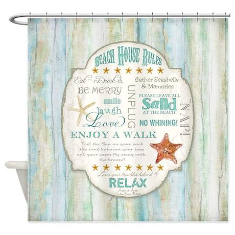 Beach House Rules Ocean Driftwood B Shower Curtain By Admin_CP113518717