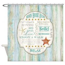 Beach House Rules Ocean Driftwood B Shower Curtain
