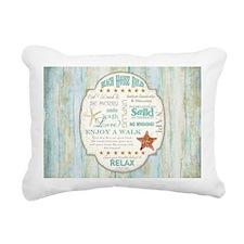Beach House Rules Ocean Rectangular Canvas Pillow