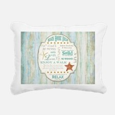 Beach House Rules Ocean Rectangular Canvas Pillow