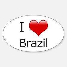 I Love Brazil Oval Decal
