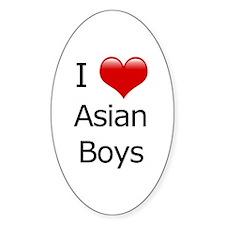 I Love Asian Boys Oval Decal