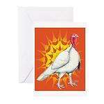 Sunburst White Turkey Greeting Cards (Pk of 10)