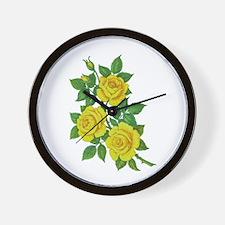 Yellow Roses Wall Clock