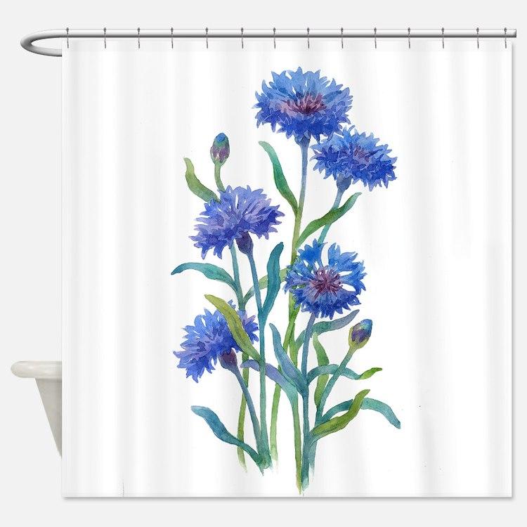 Blue Flowers Shower Curtains Blue Flowers Fabric Shower Curtain Liner