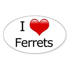 I Love Ferrets Oval Decal