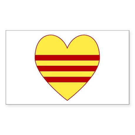 Republic of South Vietnam Flag Heart Sticker (Rect