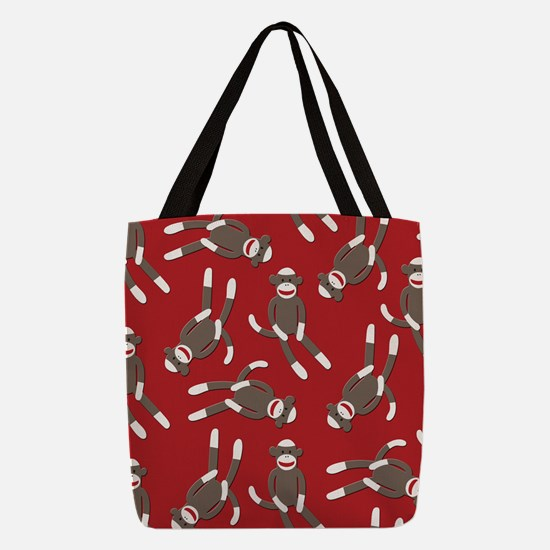 Red Sock Monkey Print Polyester Tote Bag
