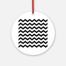 Black White Chevron Ornament (Round)