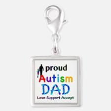 Proud Autism Dad Silver Square Charm