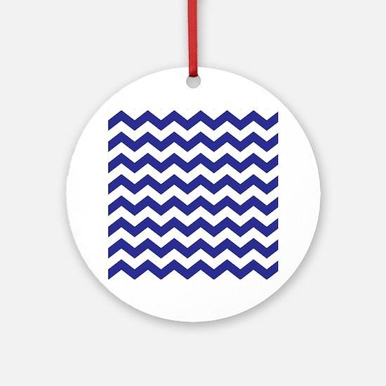 Royal Blue Chevron Ornament (Round)