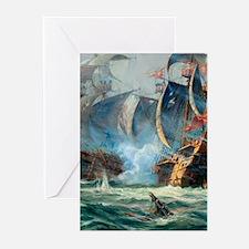 Battle Ships At War Painting Greeting Cards