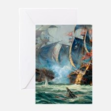 Battle Ships At War Painting Greeting Cards