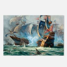 Battle Ships At War Painting Postcards (Package of