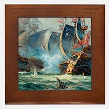 Battle Ships At War Painting Framed Tile