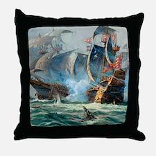 Battle Ships At War Painting Throw Pillow