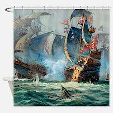 Battle Ships At War Painting Shower Curtain