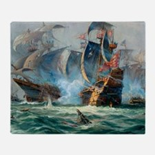 Battle Ships At War Painting Throw Blanket