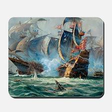 Battle Ships At War Painting Mousepad
