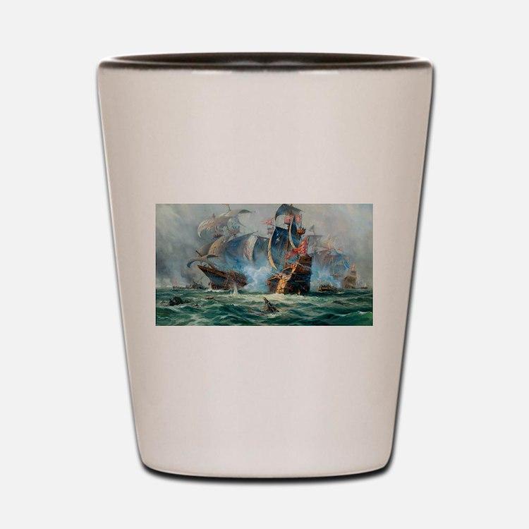 Battle Ships At War Painting Shot Glass