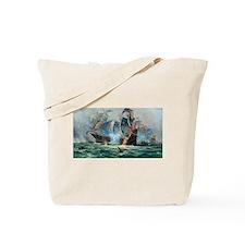 Battle Ships At War Painting Tote Bag