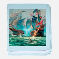 Battle Ships At War Painting baby blanket