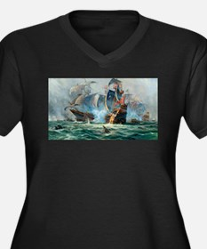 Battle Ships At War Painting Plus Size T-Shirt