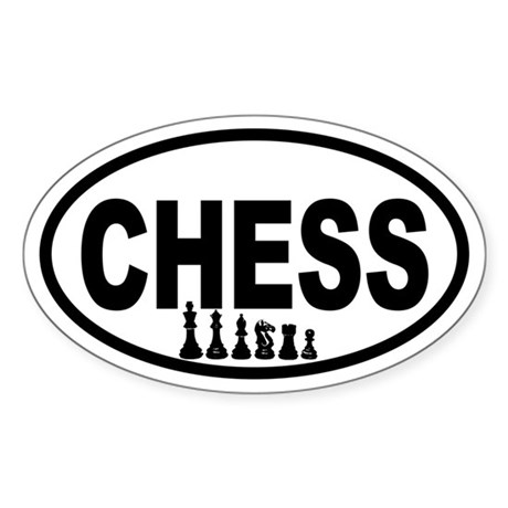 Chess Pieces Oval Sticker