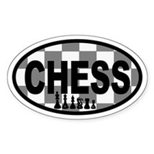 Chess Pieces and Board Oval Stickers